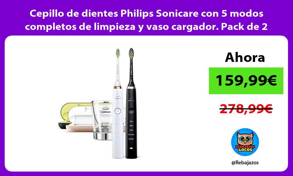 Cepillo de dientes Philips Sonicare con 5 modos completos de limpieza y vaso cargador Pack de 2