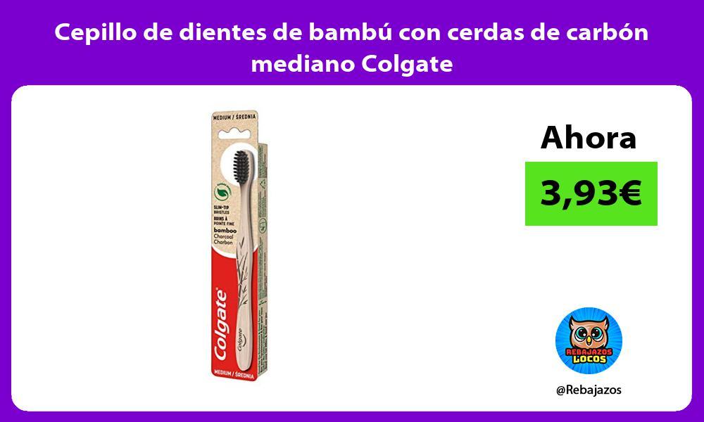 Cepillo de dientes de bambu con cerdas de carbon mediano Colgate