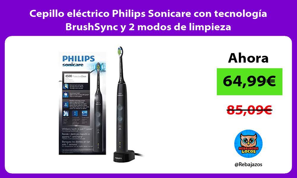 Cepillo electrico Philips Sonicare con tecnologia BrushSync y 2 modos de limpieza