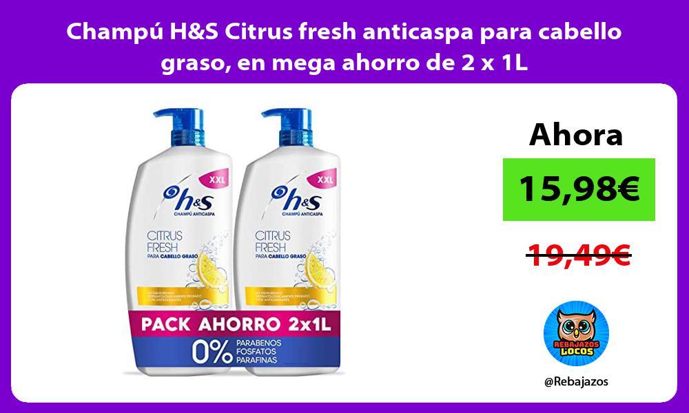 Champu HS Citrus fresh anticaspa para cabello graso en mega ahorro de 2 x 1L