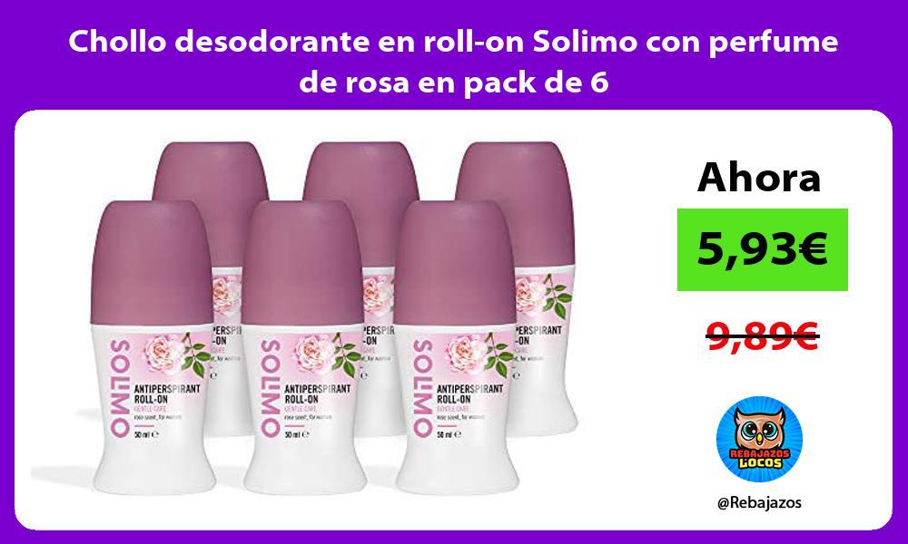 Chollo desodorante en roll on Solimo con perfume de rosa en pack de 6