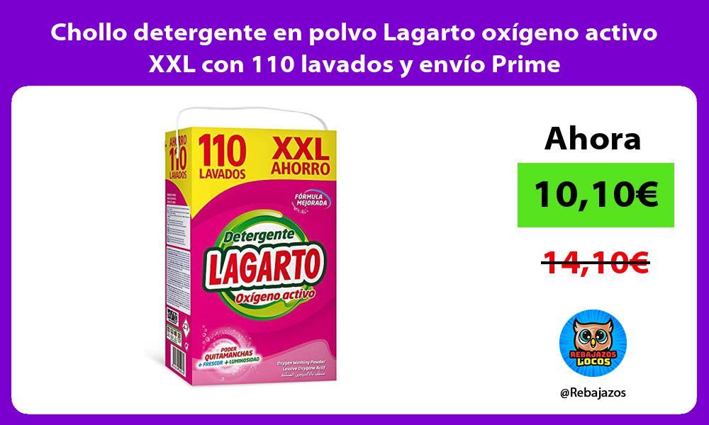 Chollo detergente en polvo Lagarto oxigeno activo XXL con 110 lavados y envio Prime