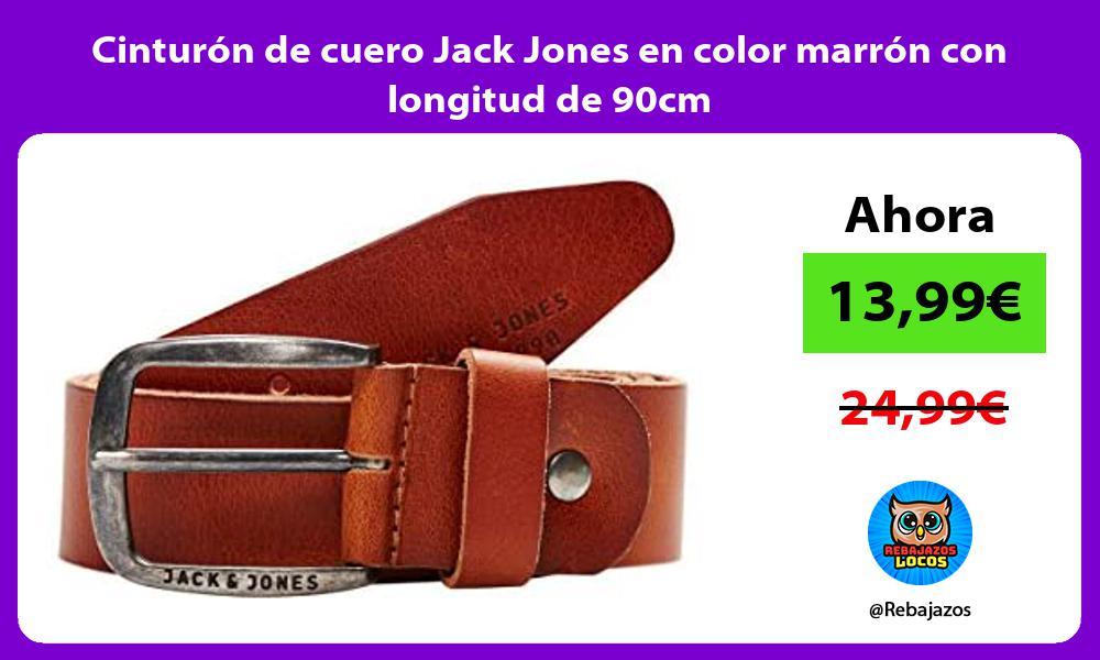 Cinturon de cuero Jack Jones en color marron con longitud de 90cm