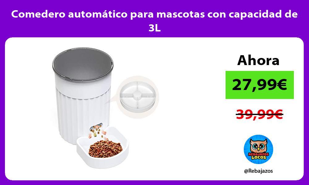 Comedero automatico para mascotas con capacidad de 3L