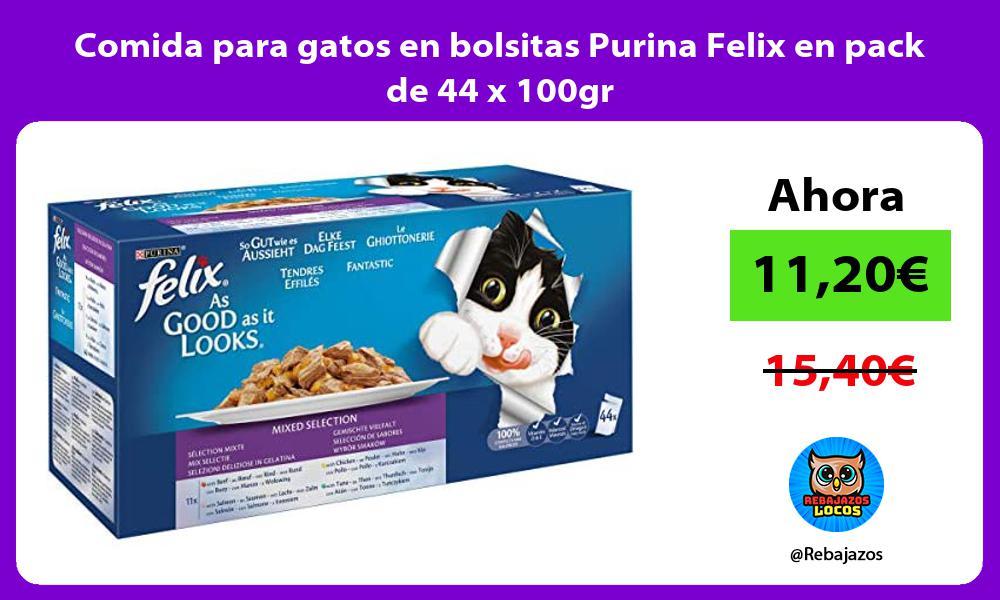 Comida para gatos en bolsitas Purina Felix en pack de 44 x 100gr