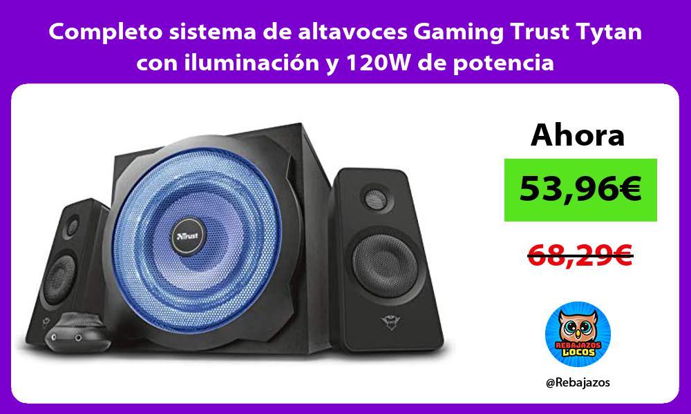 Completo sistema de altavoces Gaming Trust Tytan con iluminacion y 120W de potencia