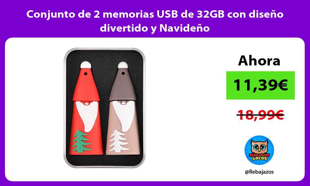 Conjunto de 2 memorias USB de 32GB con diseno divertido y Navideno