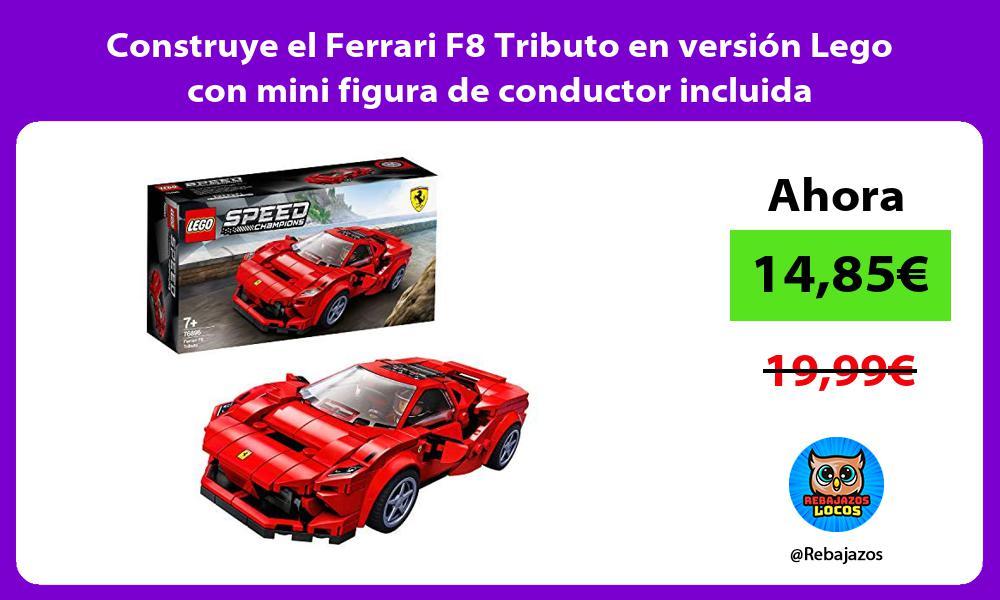 Construye el Ferrari F8 Tributo en version Lego con mini figura de conductor incluida