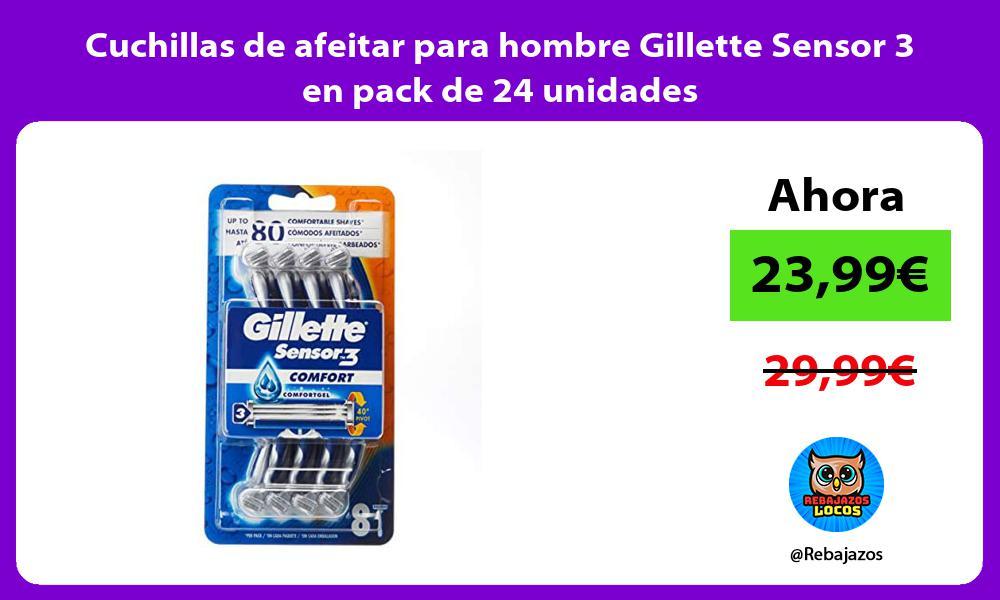 Cuchillas de afeitar para hombre Gillette Sensor 3 en pack de 24 unidades