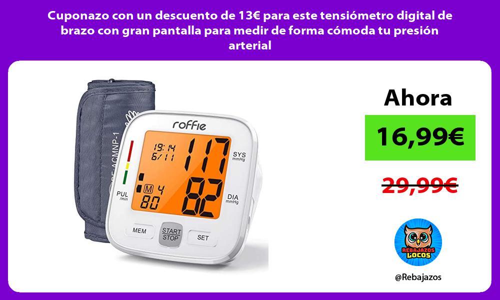Cuponazo con un descuento de 13E para este tensiometro digital de brazo con gran pantalla para medir de forma comoda tu presion arterial
