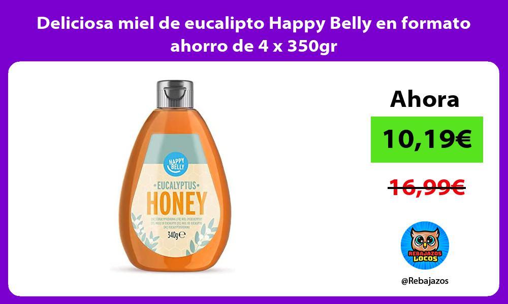Deliciosa miel de eucalipto Happy Belly en formato ahorro de 4 x 350gr