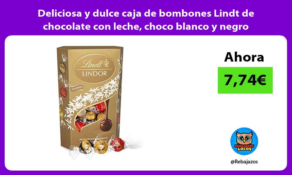 Deliciosa y dulce caja de bombones Lindt de chocolate con leche choco blanco y negro