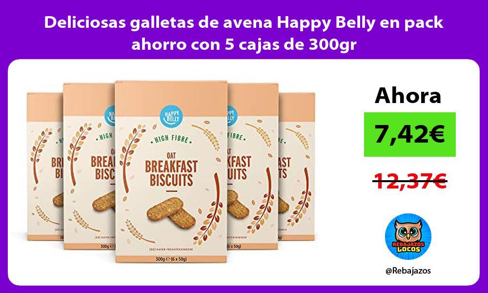 Deliciosas galletas de avena Happy Belly en pack ahorro con 5 cajas de 300gr