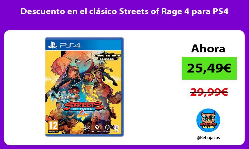Descuento en el clasico Streets of Rage 4 para PS4