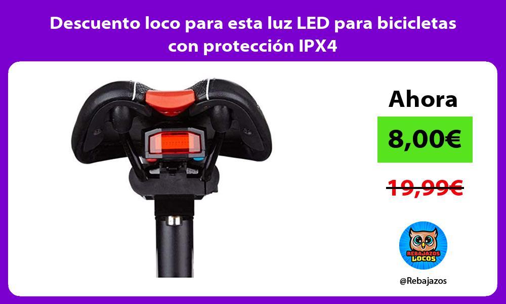 Descuento loco para esta luz LED para bicicletas con proteccion IPX4