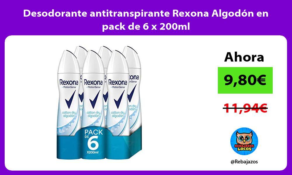 Desodorante antitranspirante Rexona Algodon en pack de 6 x 200ml