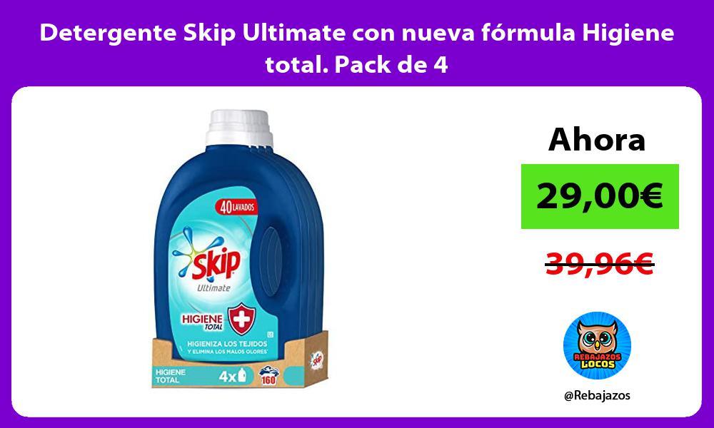 Detergente Skip Ultimate con nueva formula Higiene total Pack de 4