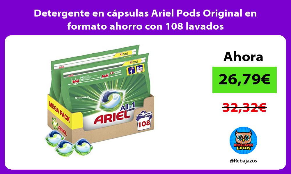 Detergente en capsulas Ariel Pods Original en formato ahorro con 108 lavados