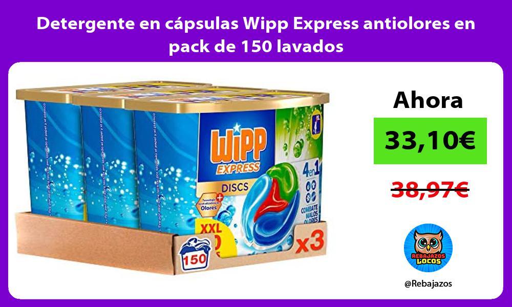 Detergente en capsulas Wipp Express antiolores en pack de 150 lavados