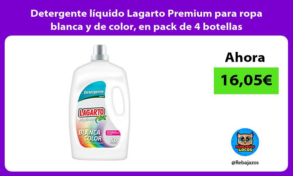 Detergente liquido Lagarto Premium para ropa blanca y de color en pack de 4 botellas