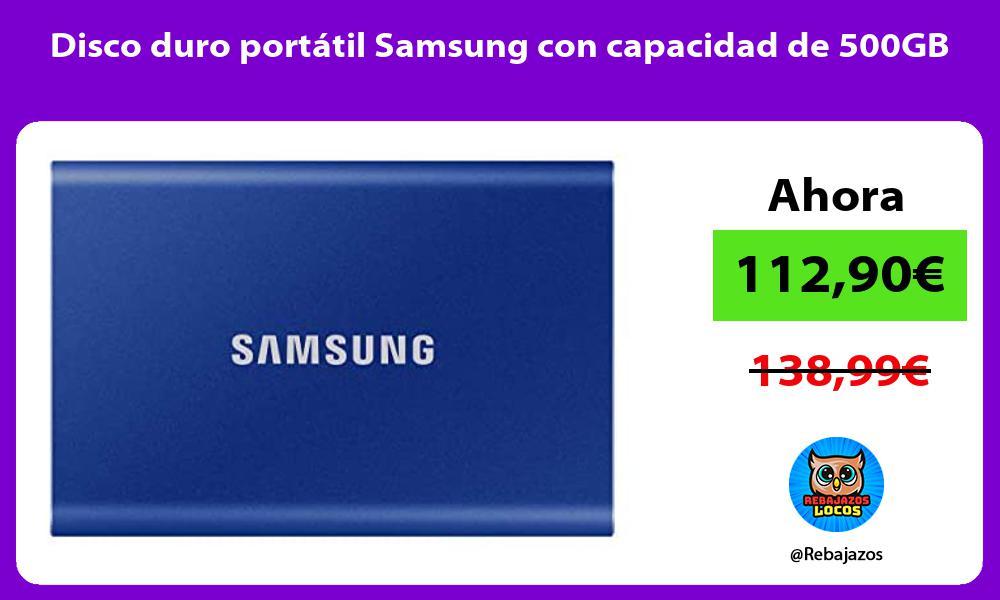 Disco duro portatil Samsung con capacidad de 500GB