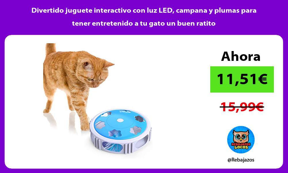 Divertido juguete interactivo con luz LED campana y plumas para tener entretenido a tu gato un buen ratito