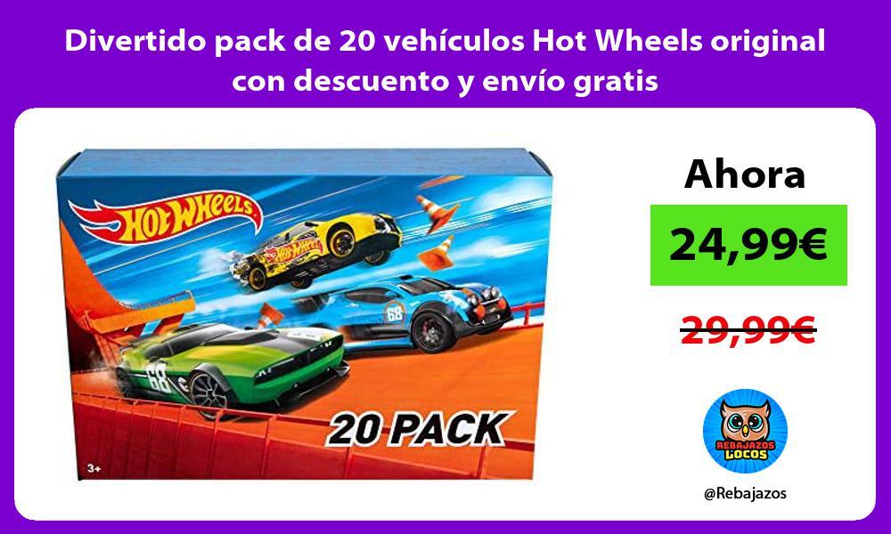 Divertido pack de 20 vehiculos Hot Wheels original con descuento y envio gratis