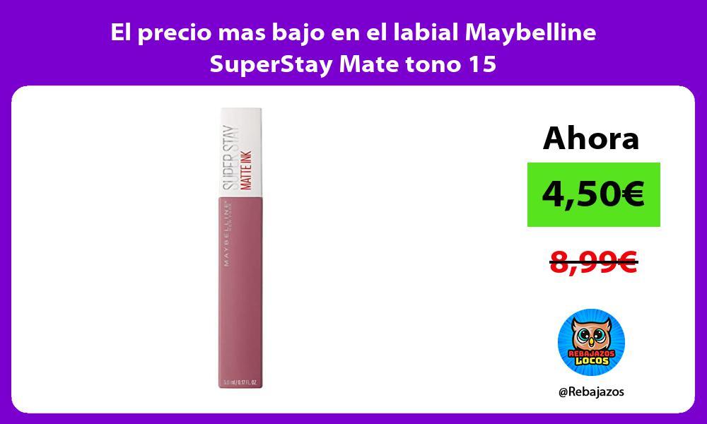 El precio mas bajo en el labial Maybelline SuperStay Mate tono 15