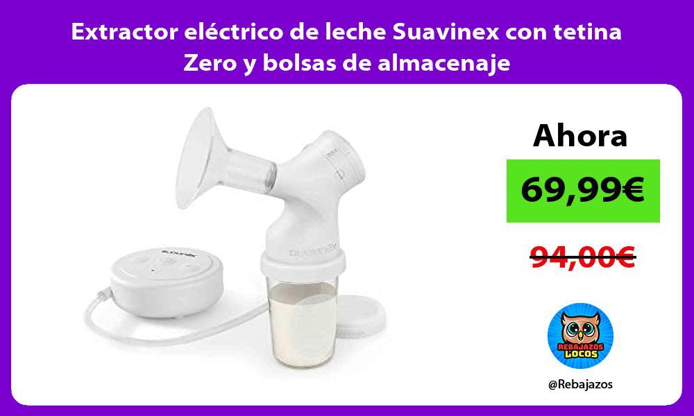 Extractor electrico de leche Suavinex con tetina Zero y bolsas de almacenaje