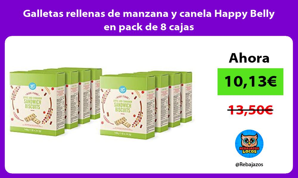 Galletas rellenas de manzana y canela Happy Belly en pack de 8 cajas