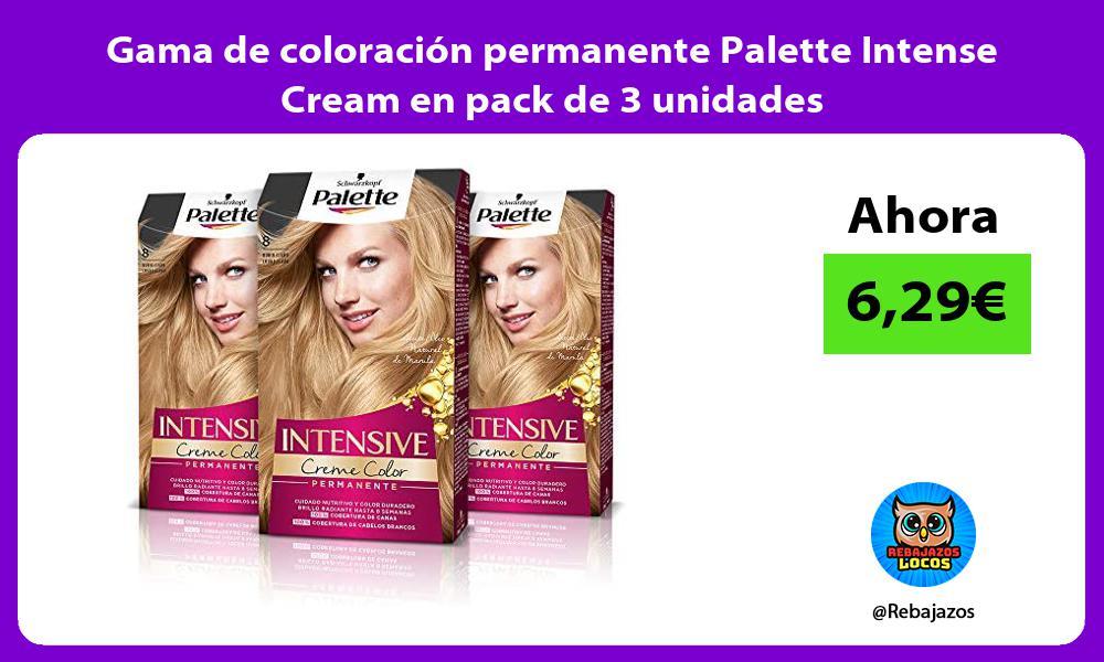Gama de coloracion permanente Palette Intense Cream en pack de 3 unidades