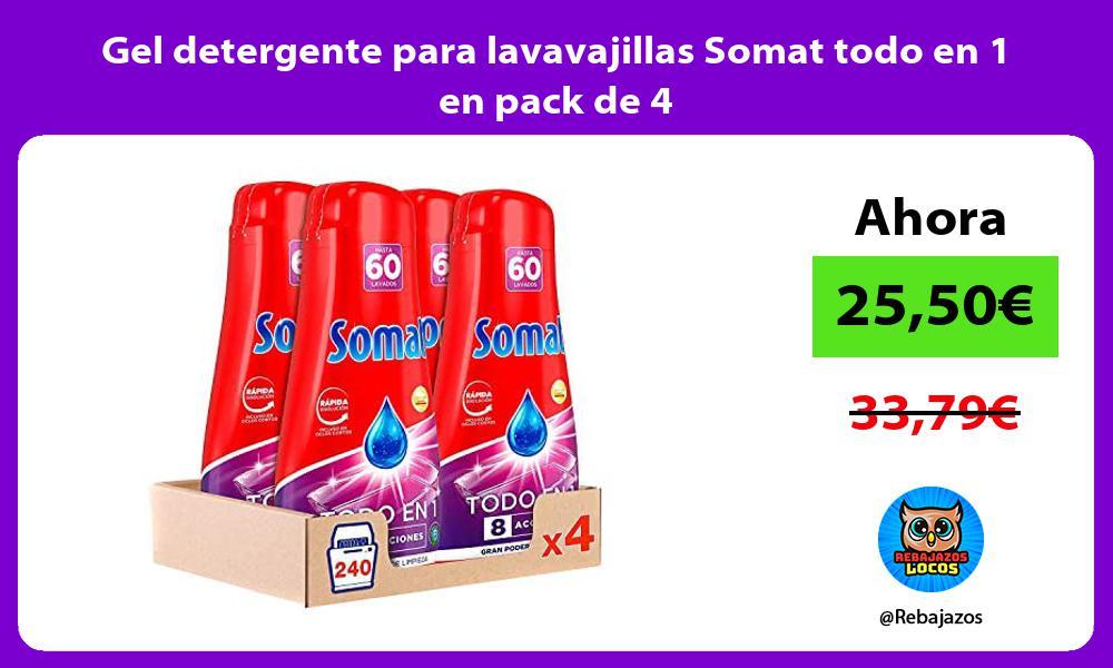 Gel detergente para lavavajillas Somat todo en 1 en pack de 4