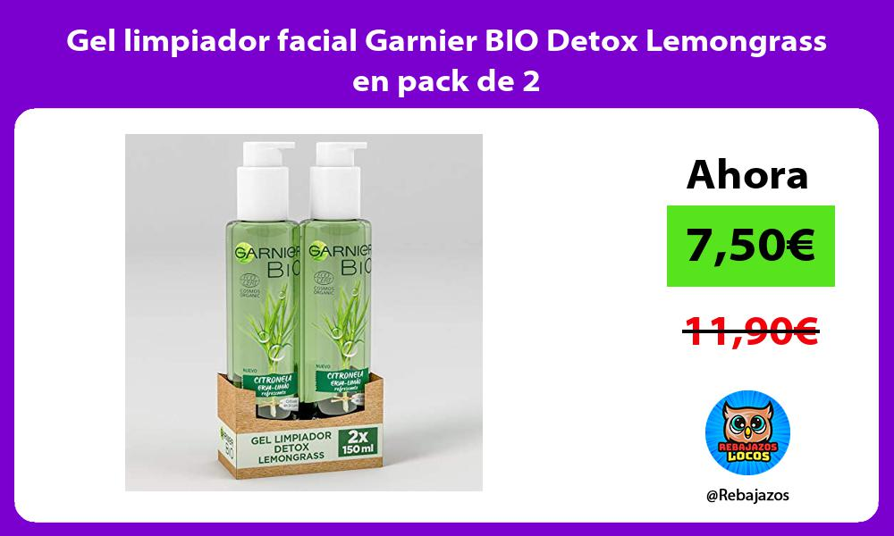 Gel limpiador facial Garnier BIO Detox Lemongrass en pack de 2