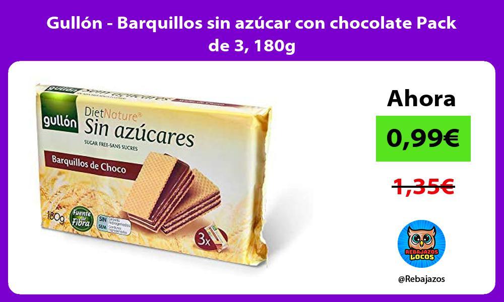 Gullon Barquillos sin azucar con chocolate Pack de 3 180g