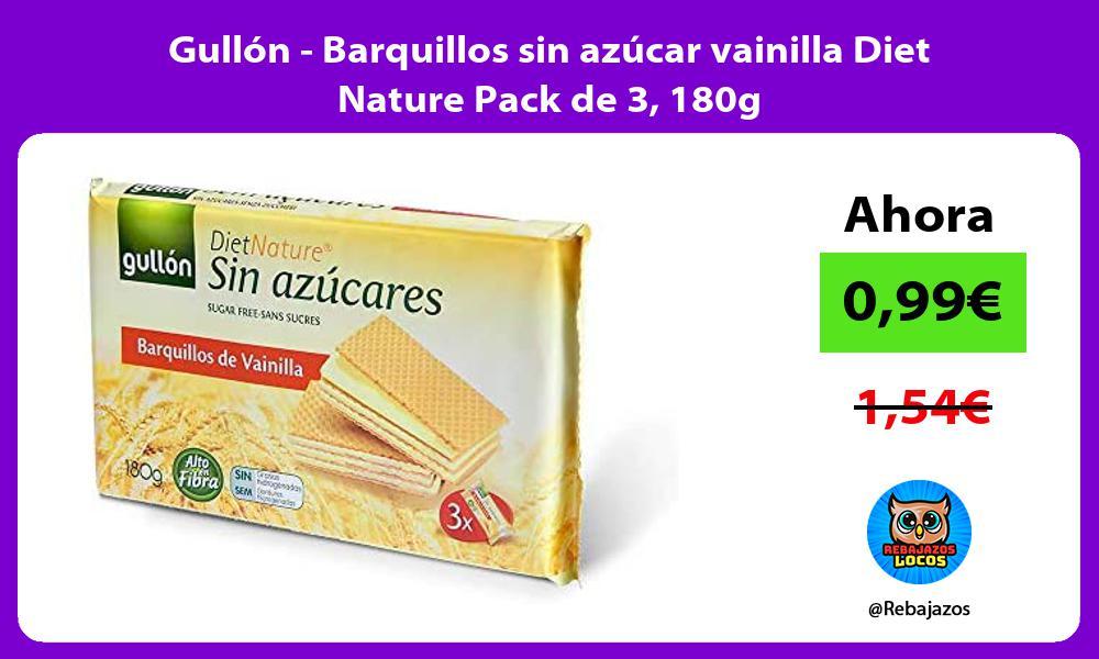 Gullon Barquillos sin azucar vainilla Diet Nature Pack de 3 180g
