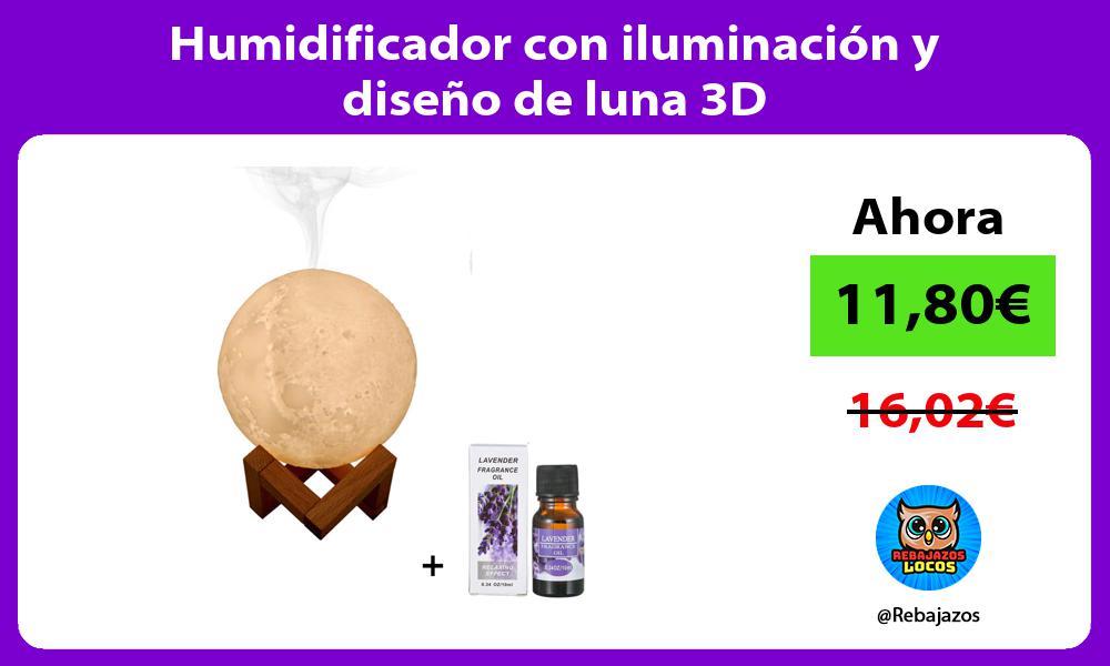 Humidificador con iluminacion y diseno de luna 3D
