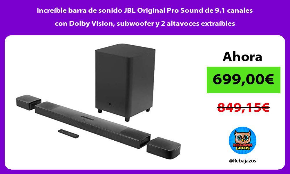 Increible barra de sonido JBL Original Pro Sound de 9 1 canales con Dolby Vision subwoofer y 2 altavoces extraibles