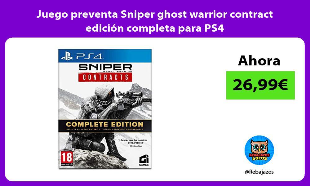 Juego preventa Sniper ghost warrior contract edicion completa para PS4