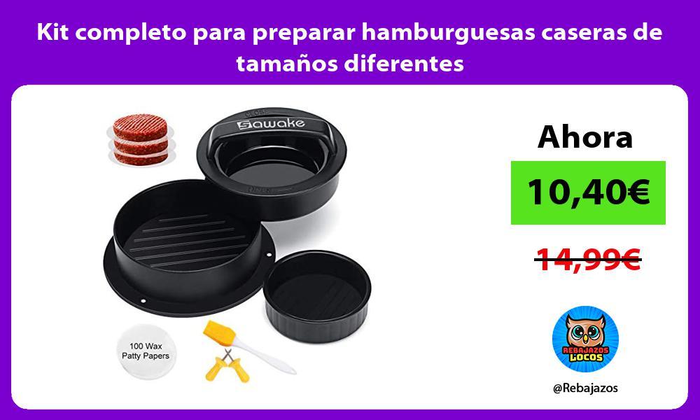 Kit completo para preparar hamburguesas caseras de tamanos diferentes