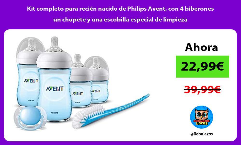 Kit completo para recien nacido de Philips Avent con 4 biberones un chupete y una escobilla especial de limpieza