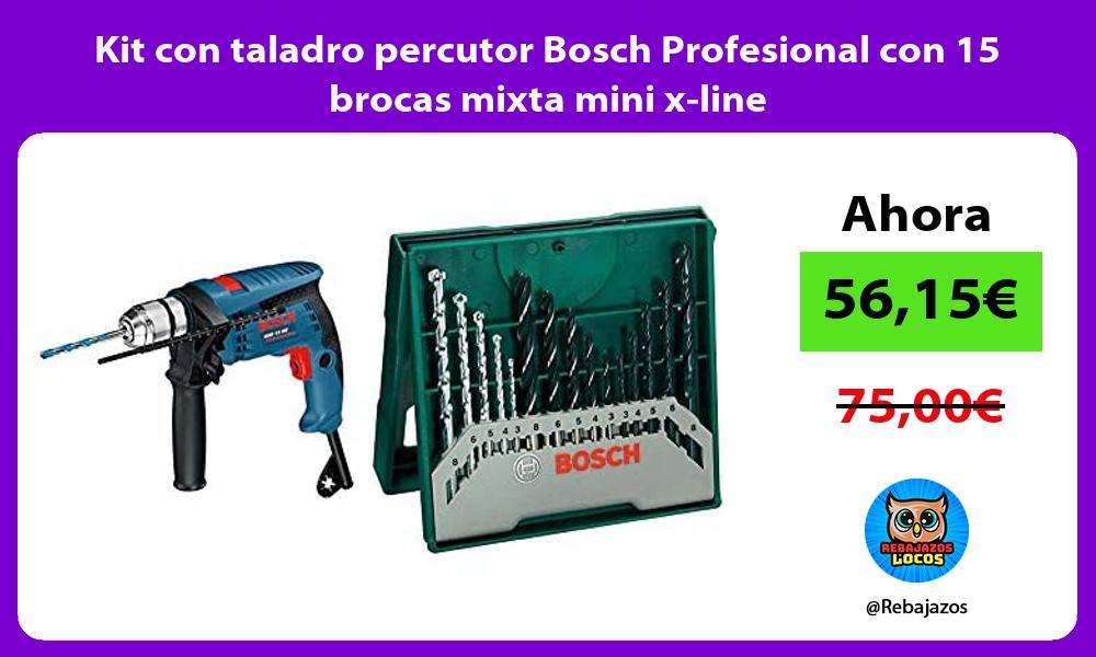 Kit con taladro percutor Bosch Profesional con 15 brocas mixta mini x line