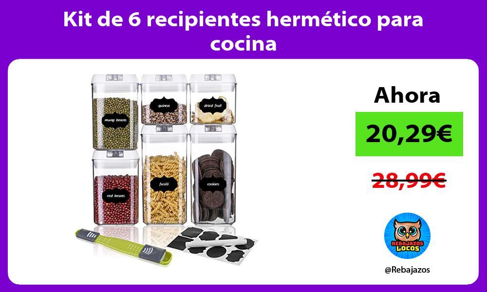 Kit de 6 recipientes hermetico para cocina