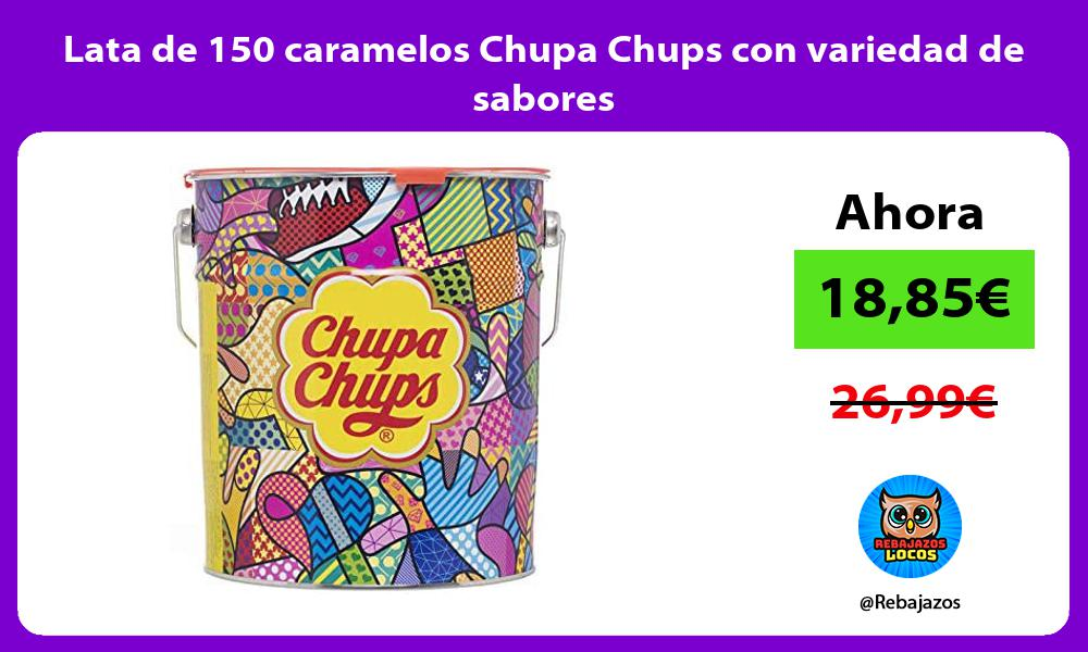 Lata de 150 caramelos Chupa Chups con variedad de sabores