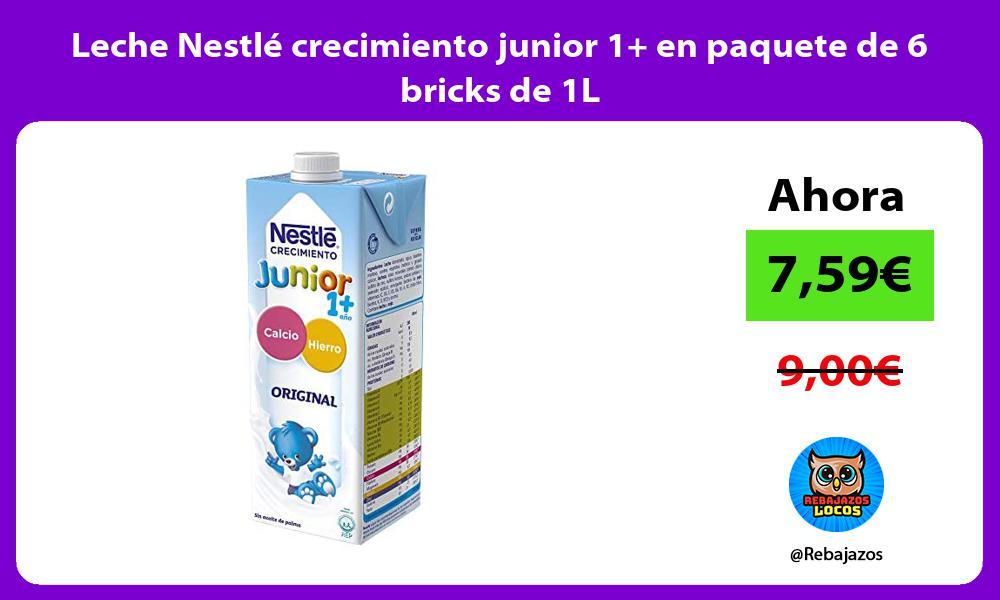 Leche Nestle crecimiento junior 1 en paquete de 6 bricks de 1L