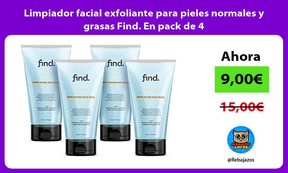 Limpiador facial exfoliante para pieles normales y grasas Find En pack de 4