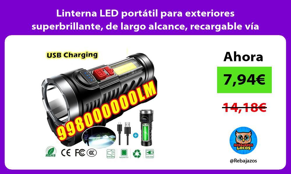 Linterna LED portatil para exteriores superbrillante de largo alcance recargable via USB