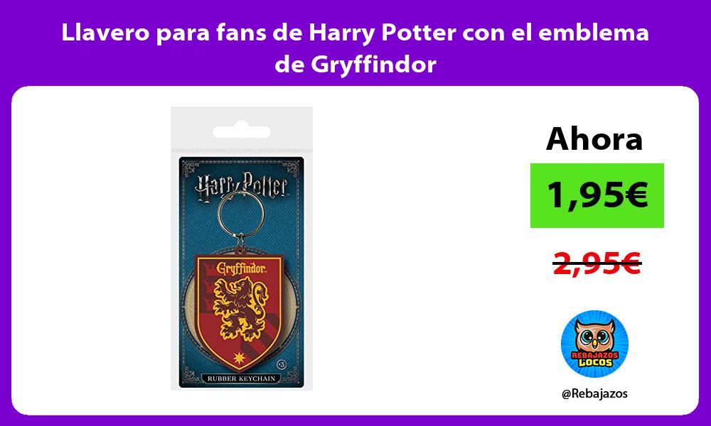 Llavero para fans de Harry Potter con el emblema de Gryffindor