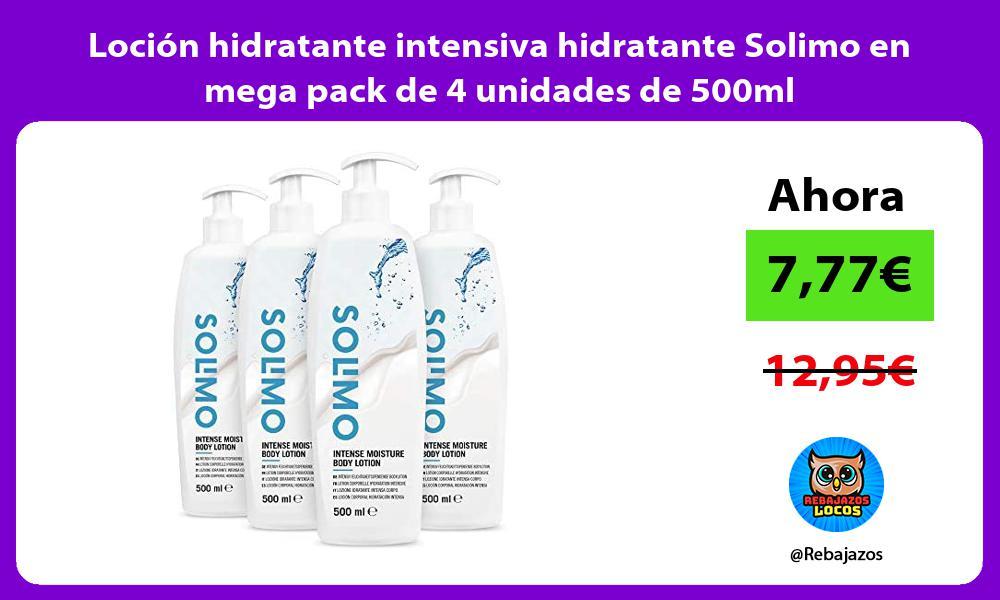 Locion hidratante intensiva hidratante Solimo en mega pack de 4 unidades de 500ml