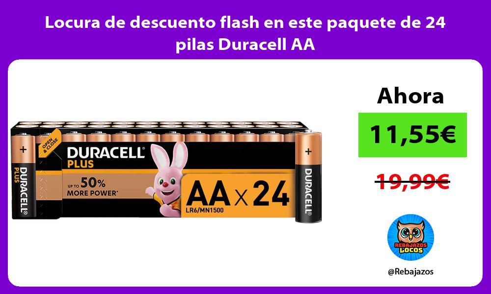 Locura de descuento flash en este paquete de 24 pilas Duracell AA