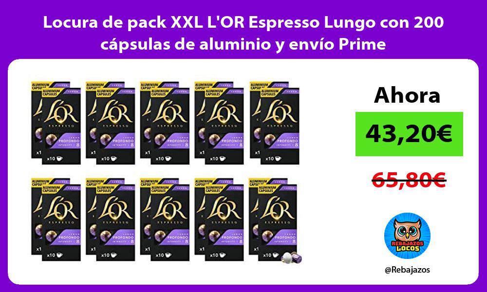Locura de pack XXL LOR Espresso Lungo con 200 capsulas de aluminio y envio Prime
